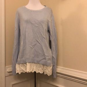 Light blue sweater with eyelet trim